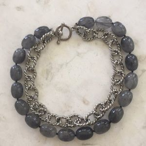 Kenneth Lane Dark Silver and Gray Bead Necklace